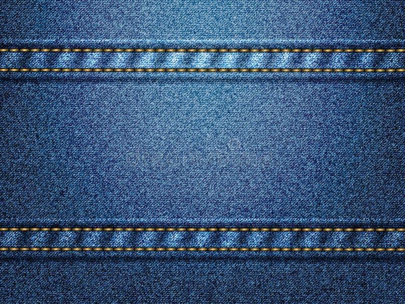 Blauwe denimachtergrond met gouden draadsteken stock illustratie