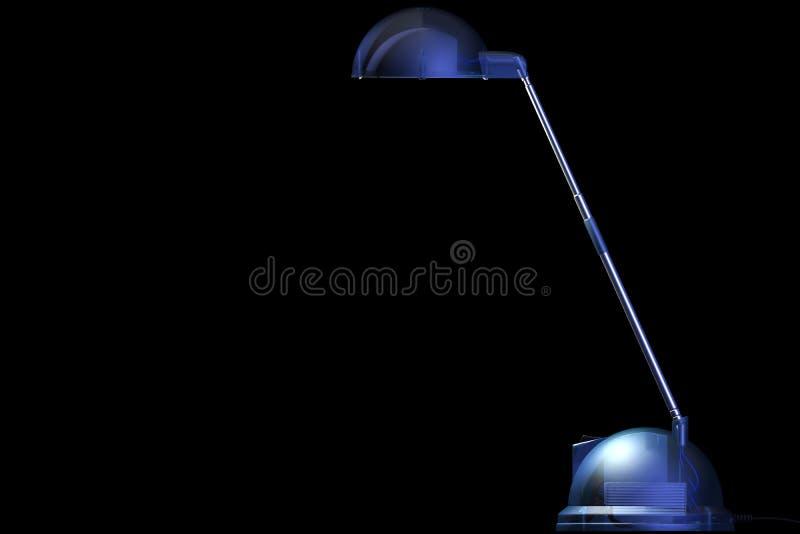 Blauwe desklamp op zwarte stock illustratie