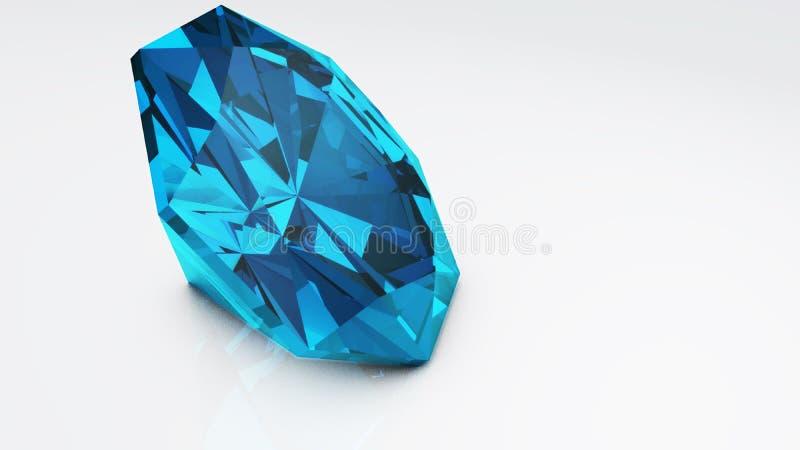 Blauwe diamant die op witte achtergrond wordt geïsoleerdw Kostbaarste schoonheid van het concept de royalty-vrije stock fotografie