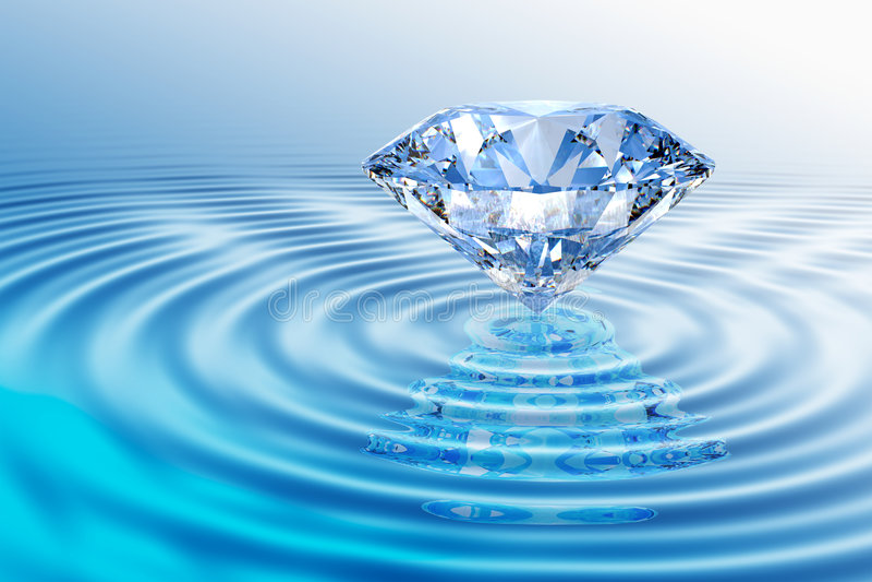 Blauwe diamant met bezinning stock illustratie