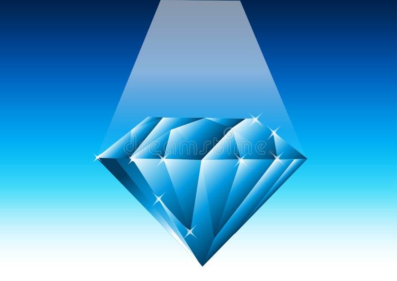 Blauwe diamant - vector royalty-vrije illustratie