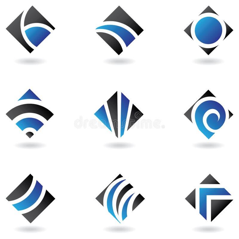 Blauwe diamantemblemen vector illustratie