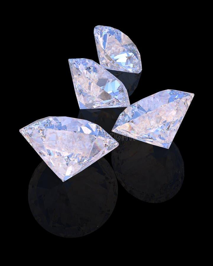 Blauwe Diamanten met bezinning over zwart 3D teruggevend model als achtergrond royalty-vrije illustratie