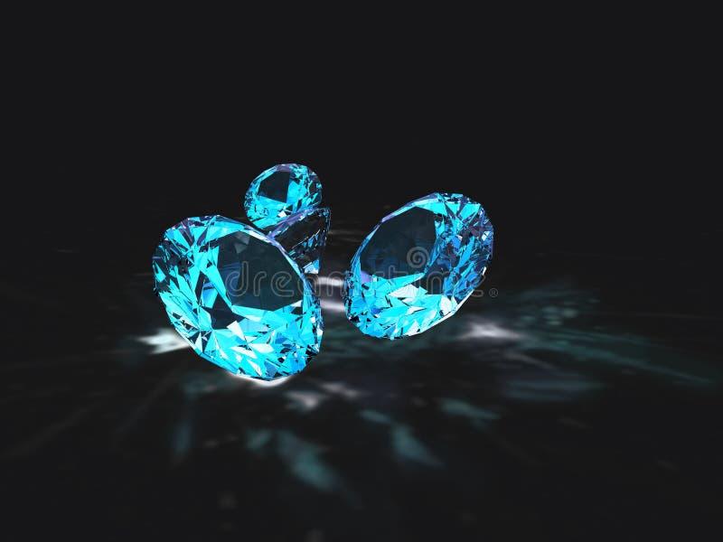 Blauwe diamanten met zwarte achtergrond stock illustratie