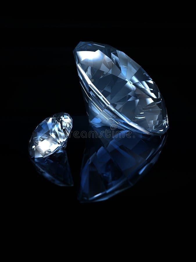 Blauwe diamanten op zwarte achtergrond stock illustratie