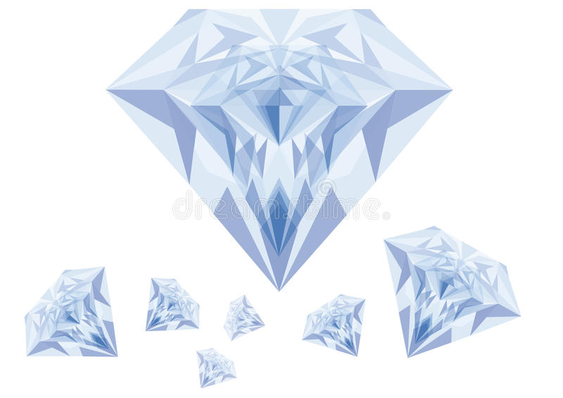 Blauwe diamanten, vector royalty-vrije illustratie