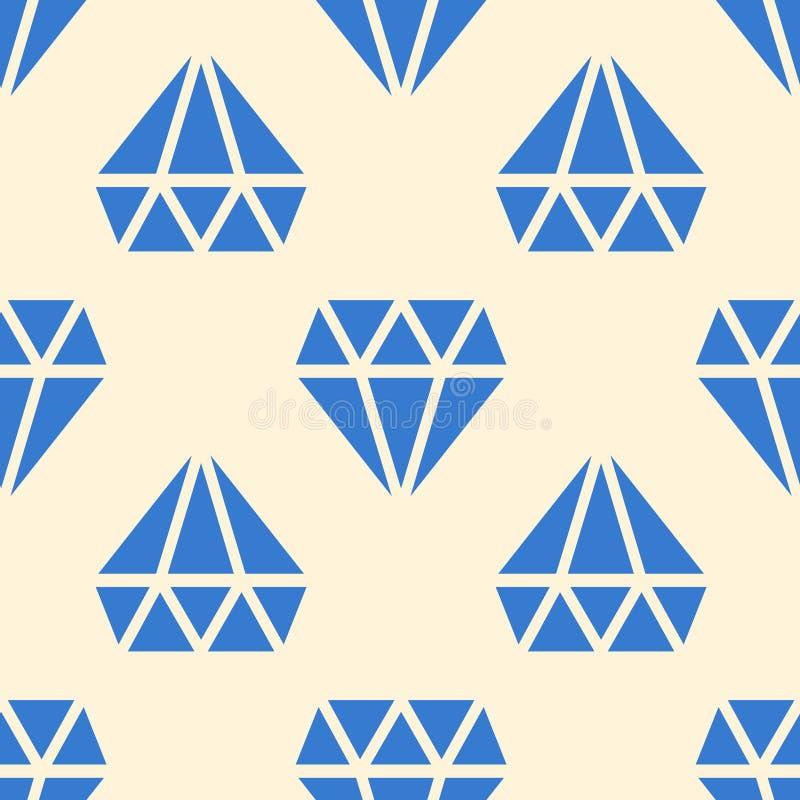 Blauwe diamanten vector naadloze achtergrond stock illustratie