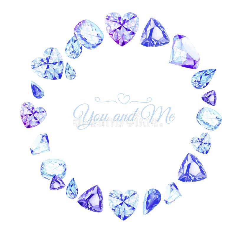 Blauwe diamantenwaterverf om vectorontwerpkader