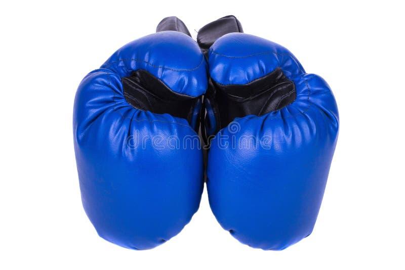 Blauwe die bokshandschoenen, op witte achtergrond worden geïsoleerd royalty-vrije stock fotografie