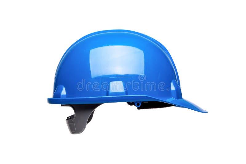 Blauwe die bouwvakker op wit wordt geïsoleerd stock foto