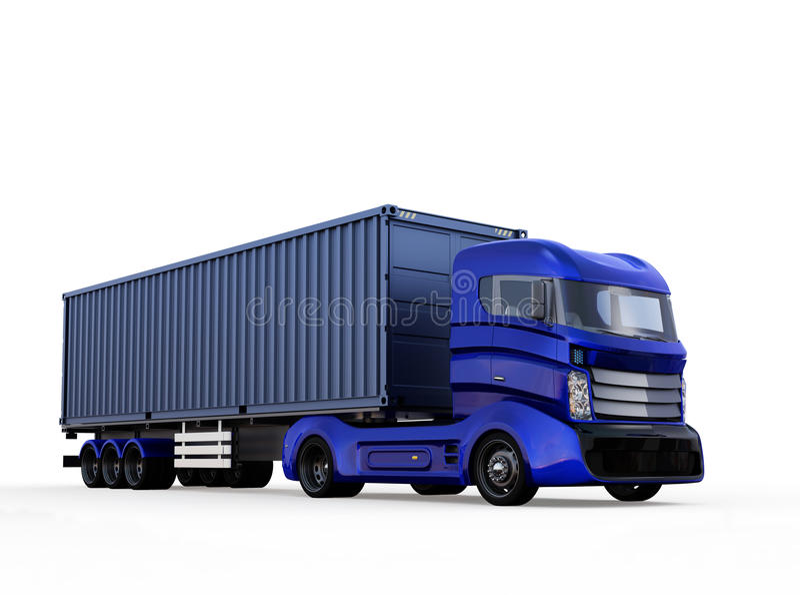 Blauwe die containervrachtwagen op witte achtergrond wordt geïsoleerd stock illustratie