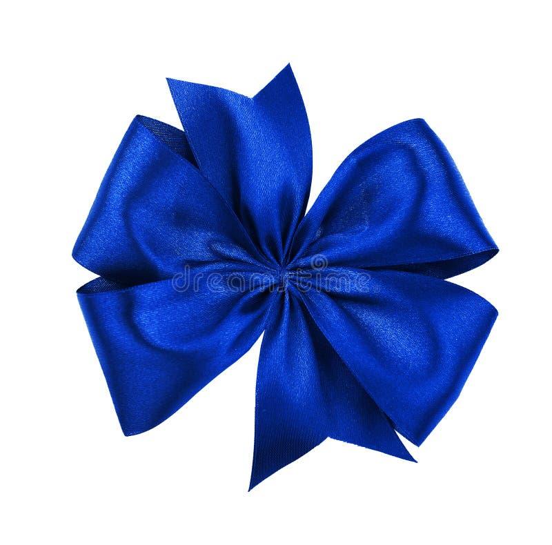 Blauwe die lintboog, op wit wordt geïsoleerd stock afbeeldingen