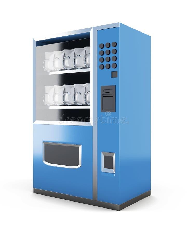 Blauwe die machine voor verkoop van snacks op witte achtergrond wordt geïsoleerd 3d royalty-vrije illustratie