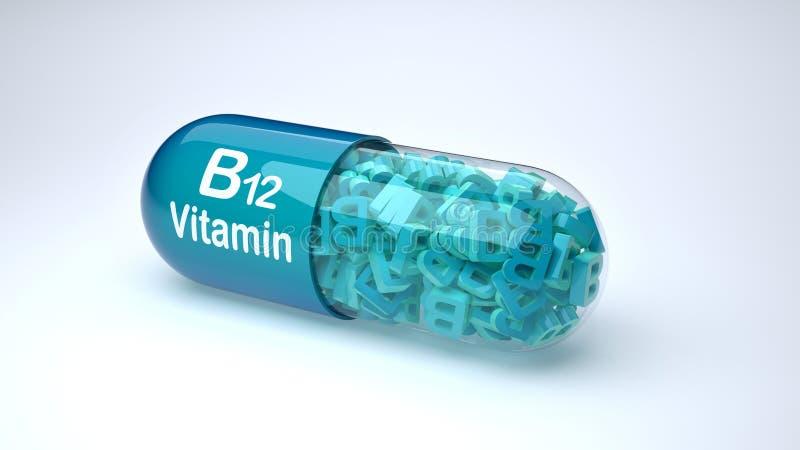 Blauwe die pil of capsule met vitamine B12 wordt gevuld royalty-vrije illustratie