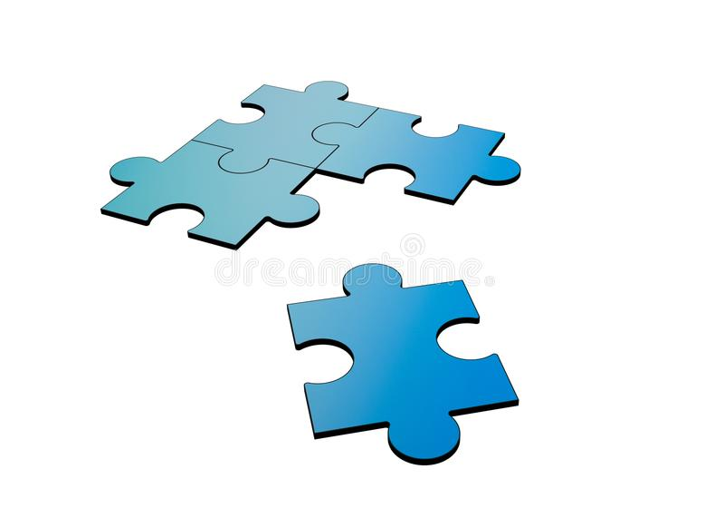 Blauwe die puzzels op wit worden onderbroken en worden gescheiden, 3d royalty-vrije illustratie