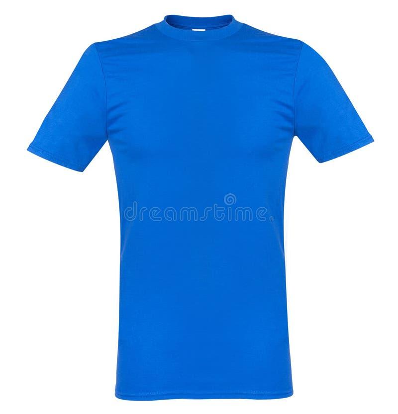 Blauwe die t-shirt op witte spot omhoog wordt geïsoleerd als achtergrond royalty-vrije stock foto