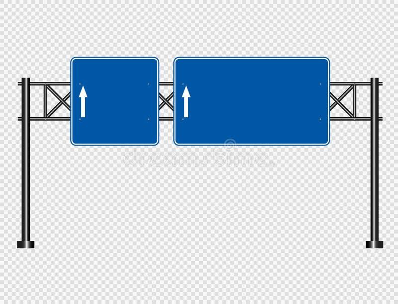 Blauwe die verkeersteken, de tekens van de Wegraad op transparante achtergrond worden geïsoleerd Vector illustratie stock illustratie