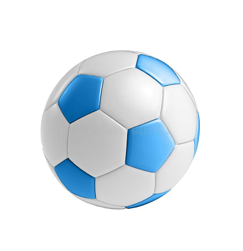 Blauwe die voetbalbal op wit wordt geïsoleerd royalty-vrije stock fotografie