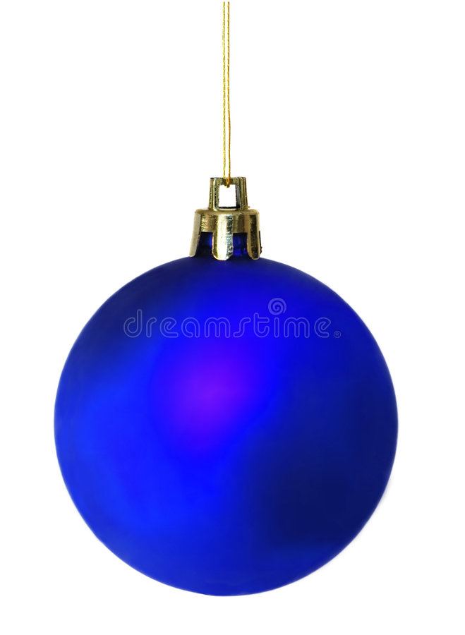 Blauwe diffuse glanzende Kerstmisbal stock foto's