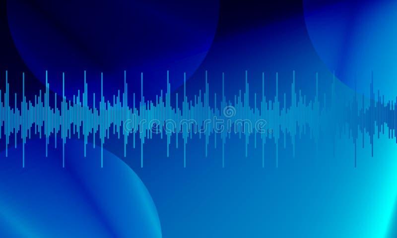 Blauwe digitale equaliser audio correcte golven op hemel blauwe achtergrond, royalty-vrije illustratie