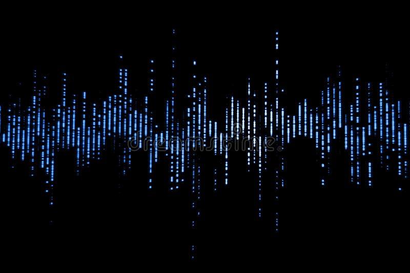 Blauwe digitale equaliser audio correcte golven op zwarte achtergrond, stereo correct effect signaal stock foto