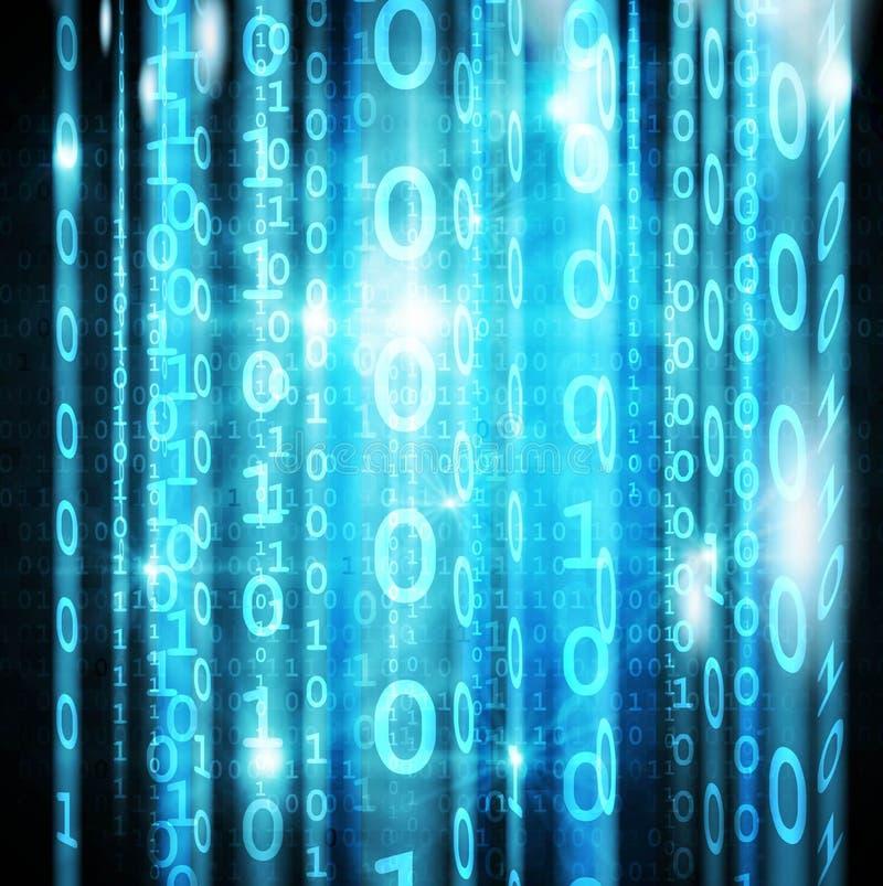 Blauwe digitale matrijs op het scherm royalty-vrije illustratie
