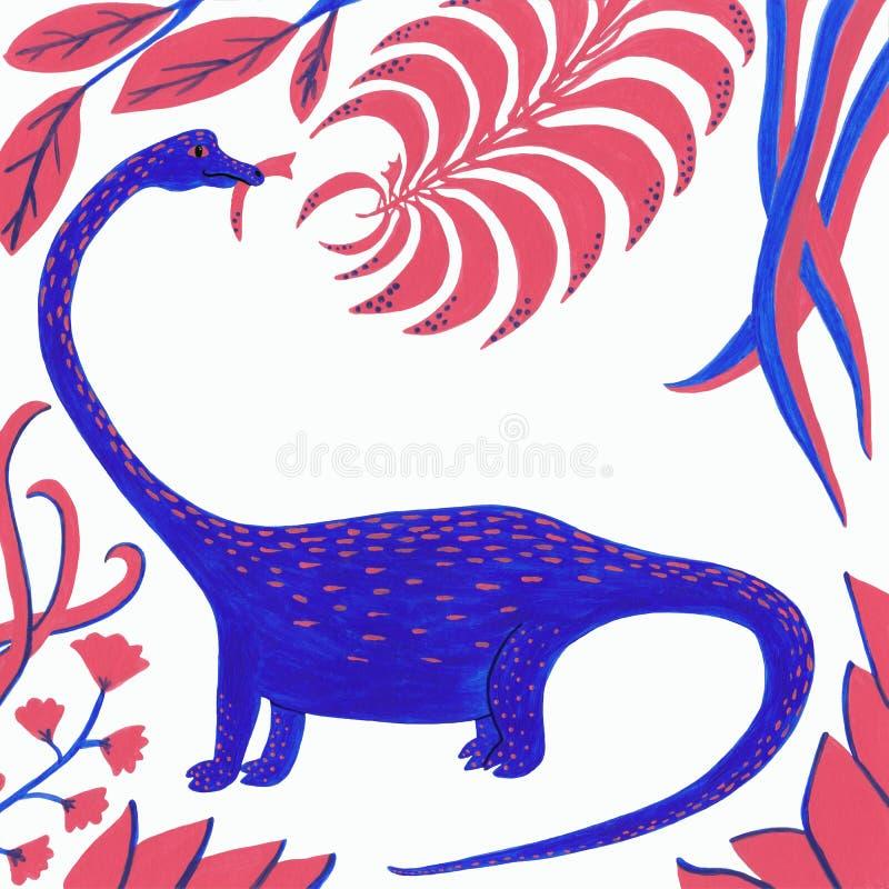 Blauwe dinosaurus met koraal en blauwe bladeren op een witte achtergrond stock illustratie
