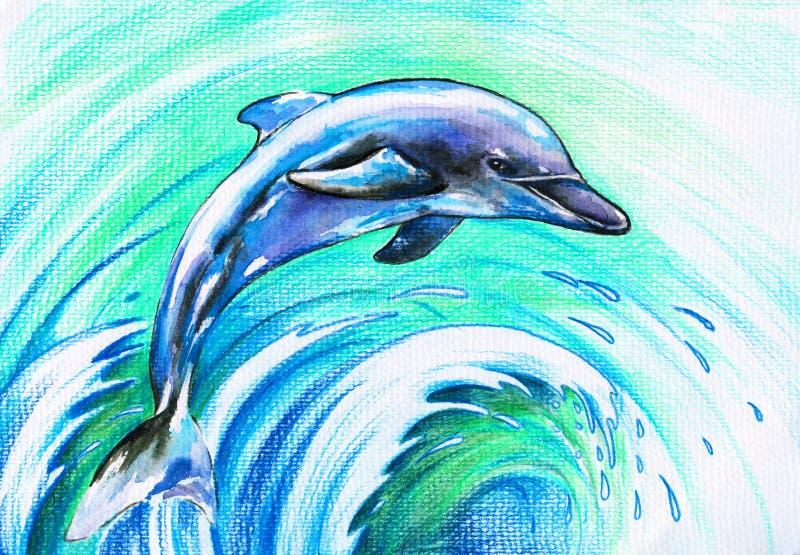 Blauwe dolfijn stock illustratie