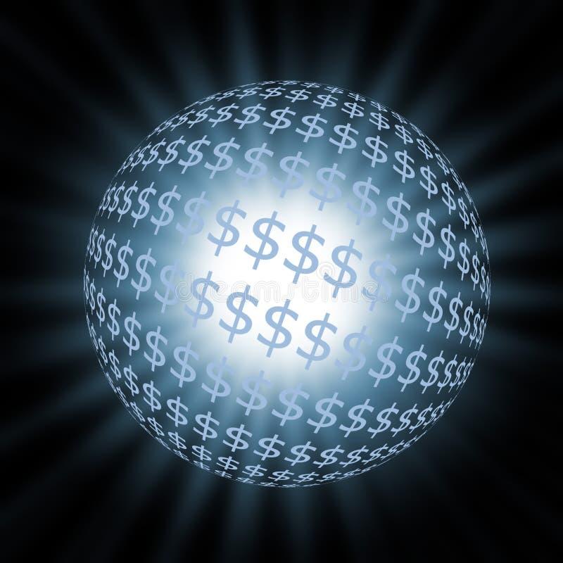 Blauwe dollarbal stock illustratie