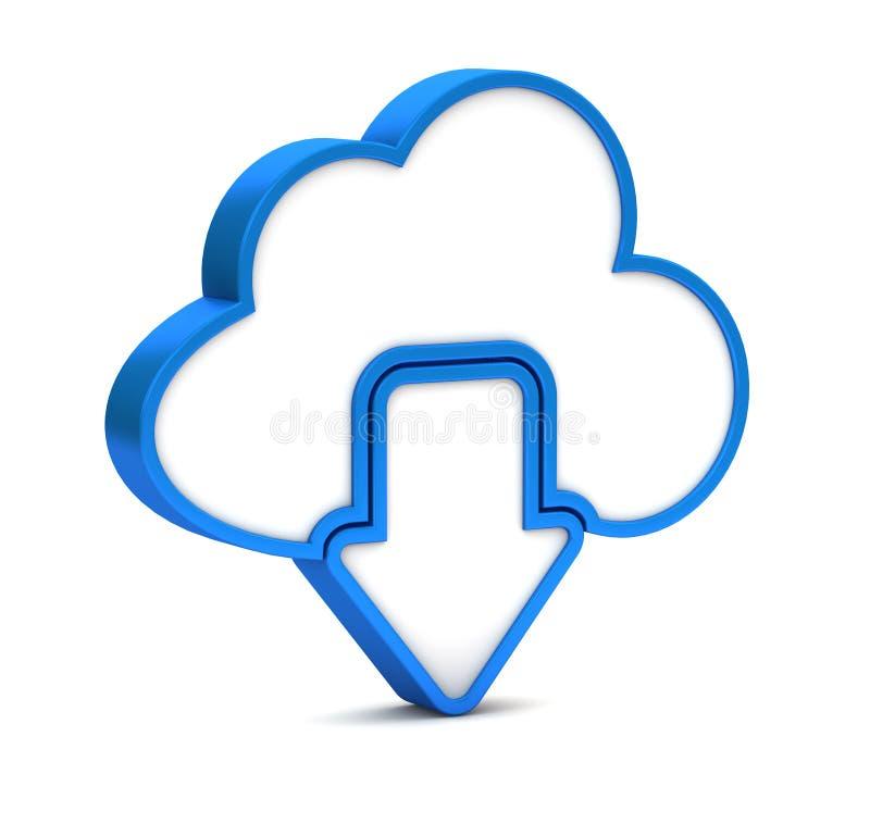 Blauwe download van wolkenpictogram stock illustratie