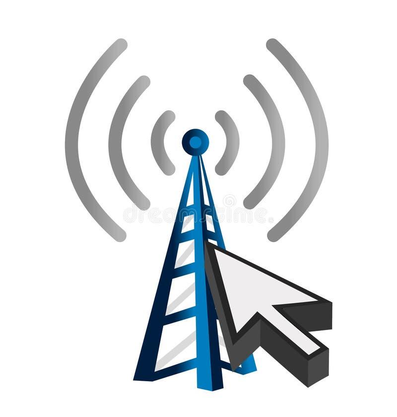 Blauwe draadloze technologietoren en curseur vector illustratie