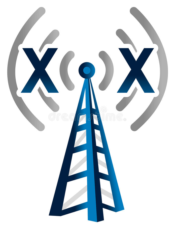 Blauwe draadloze technologietoren zonder signaal stock illustratie