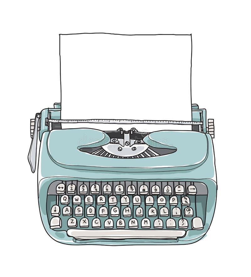Blauwe draagbare retro van de Munt uitstekende schrijfmachine met document hand dra vector illustratie