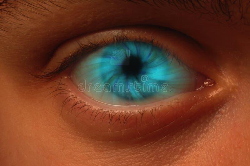 Blauwe Draaikolk in een Oogappel royalty-vrije stock afbeelding
