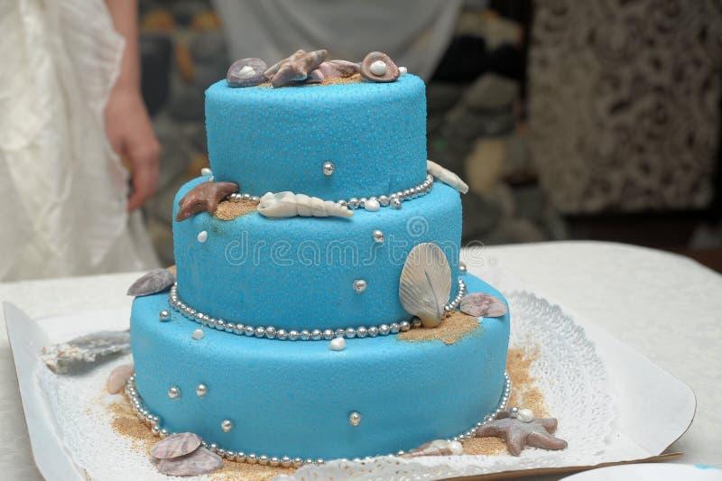 Blauwe drie-tiered cake stock afbeeldingen
