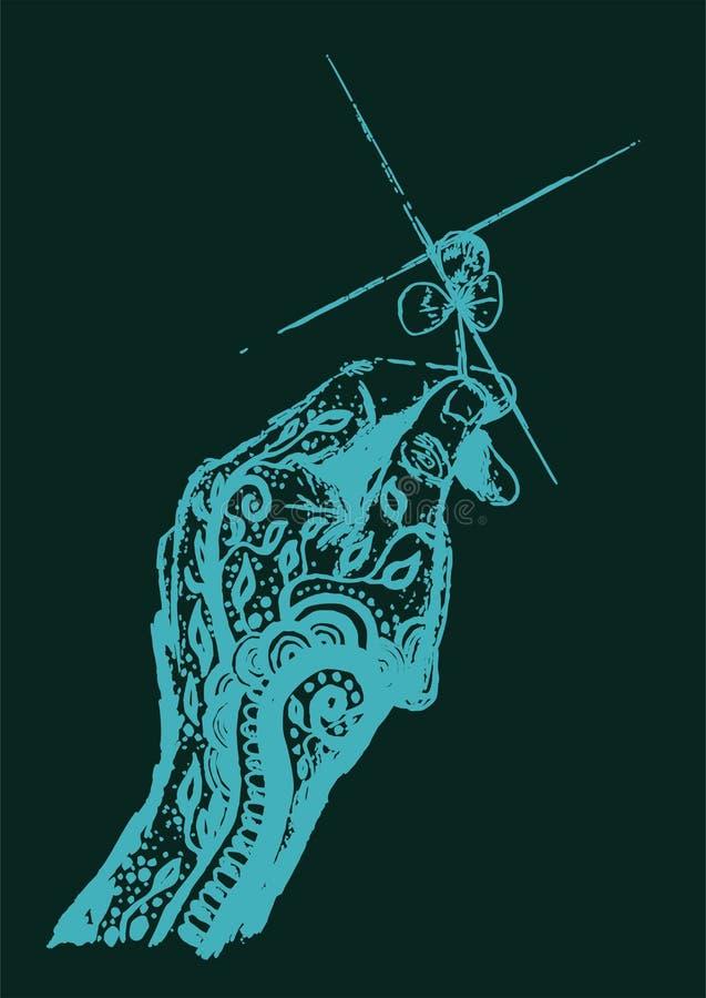 Blauwe Droom getatoeeerde hand die een vier bladklaver houden royalty-vrije stock afbeelding