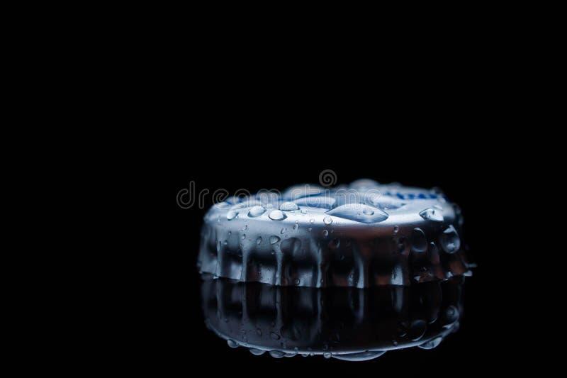 Blauwe duidelijke Cork van de Zoet waterplons van een fles royalty-vrije stock afbeeldingen