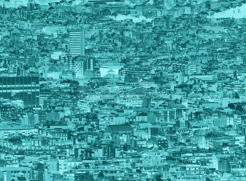 Blauwe duotone overbevolkte stedelijke cityscape achtergrond met honderden dicht ingepakte gebouwen royalty-vrije stock fotografie