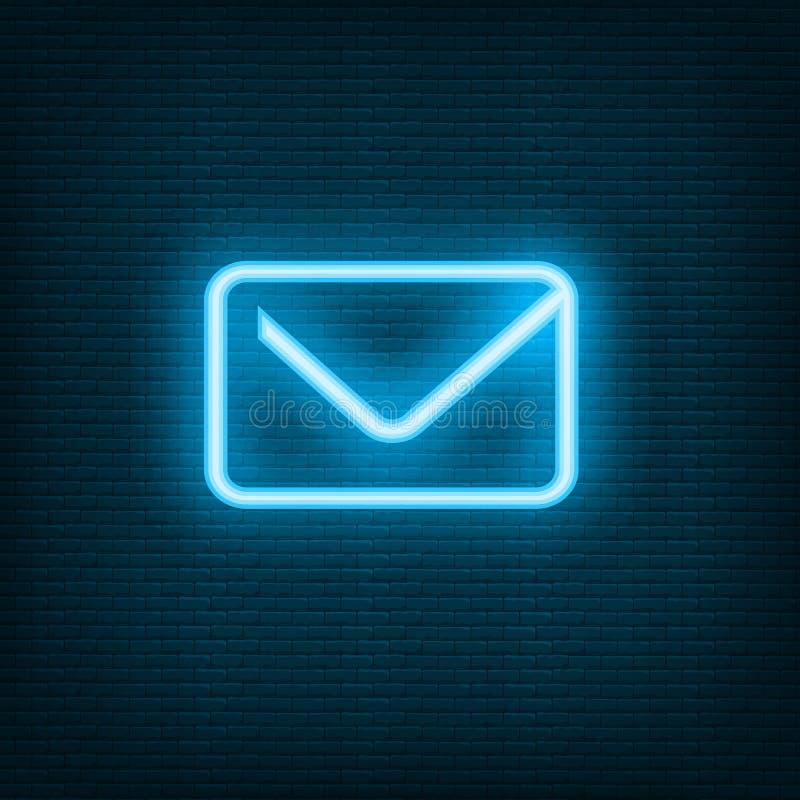 Blauwe e-mail de envelopbriefpost van het praatjeneon vector illustratie
