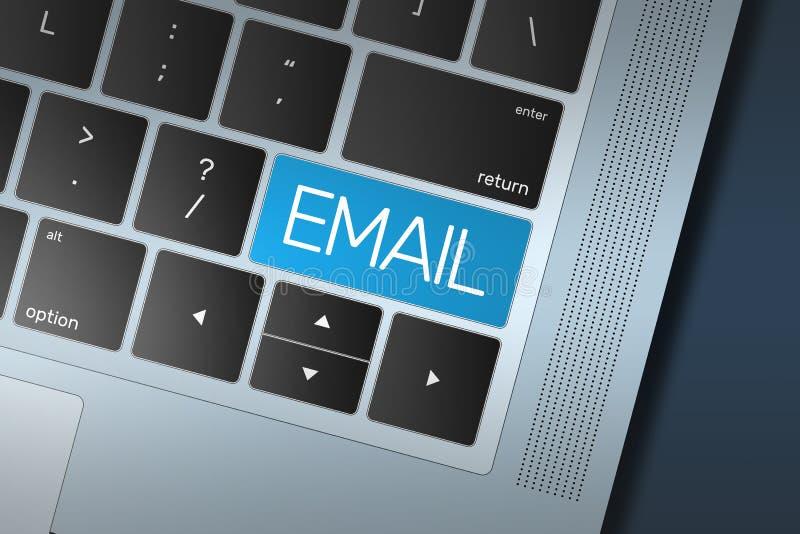 Blauwe E-mailvraag aan Actieknoop op een zwart en zilveren toetsenbord stock illustratie
