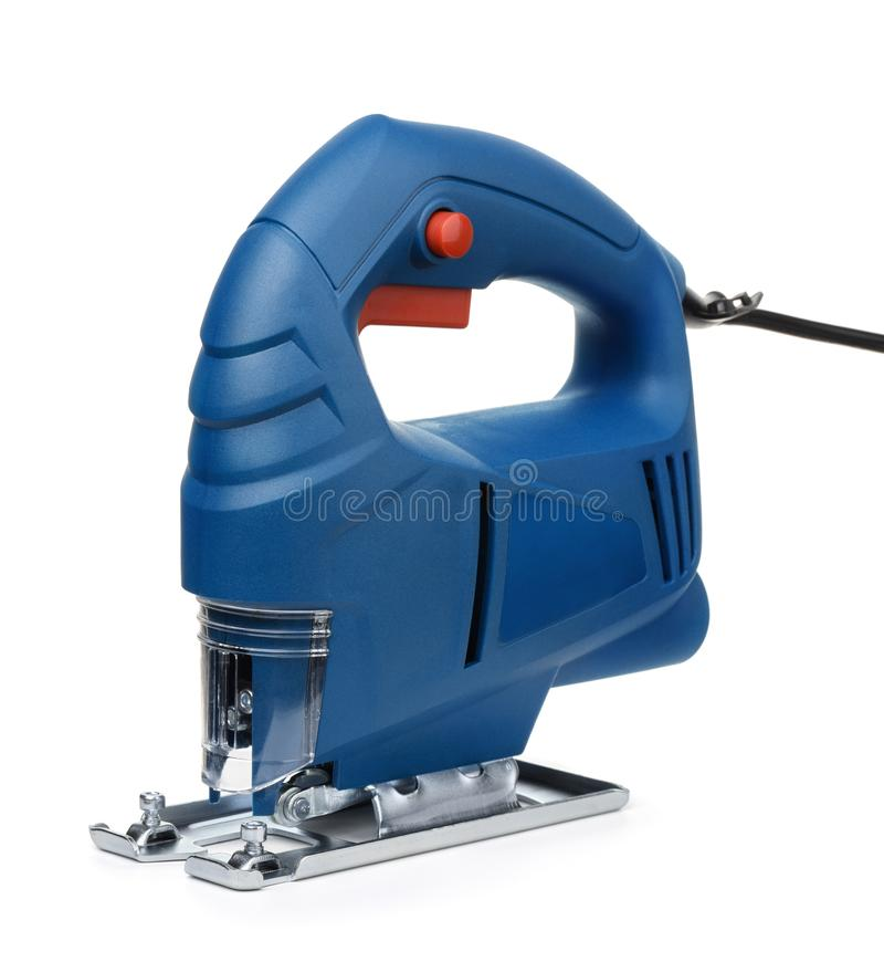 Blauwe elektrische kaliberzaag royalty-vrije stock afbeelding