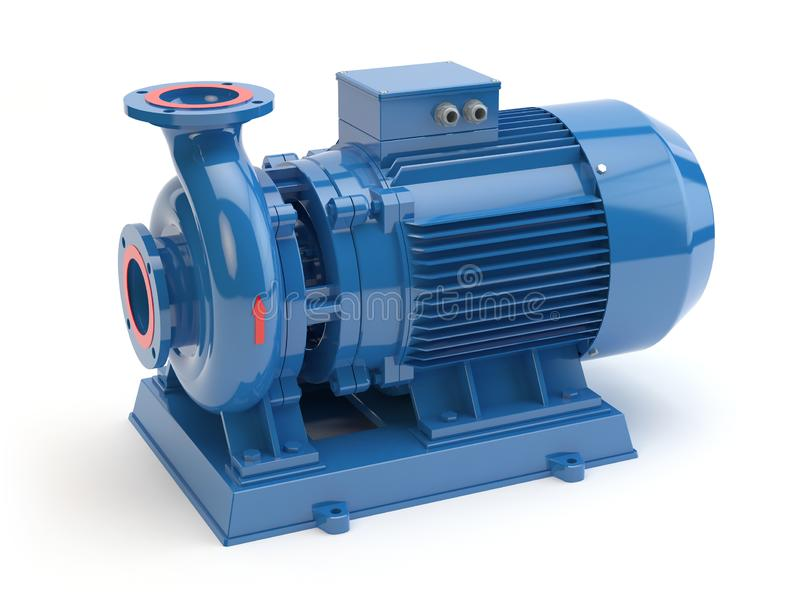 Blauwe elektrische waterpomp, 3D illustratie vector illustratie