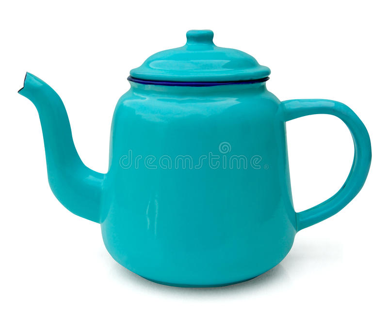 Blauwe emailthee/koffiepot stock foto