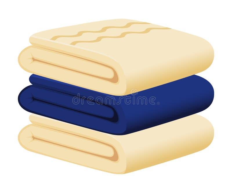 Blauwe en beige handdoeken