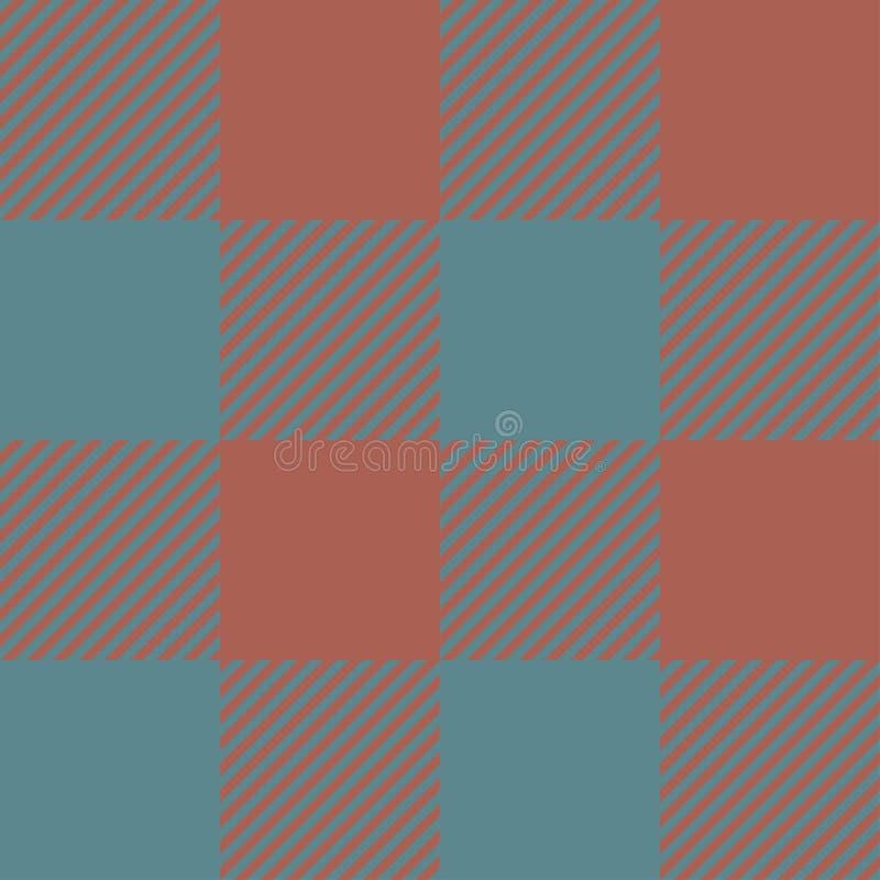 Blauwe en bruine naadloze abstracte geruite het patroonachtergrond van de Geruit Schots wollen stofplaid royalty-vrije illustratie