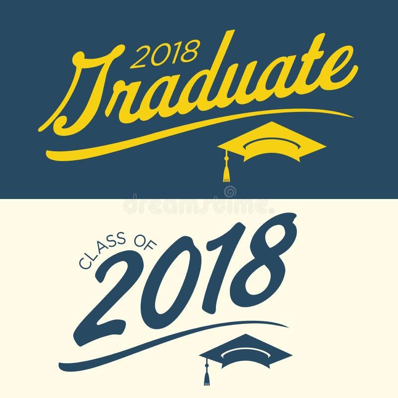 Blauwe en Gele Klasse van Gediplomeerde Vector Grafisch van 2018 met Gradu royalty-vrije illustratie