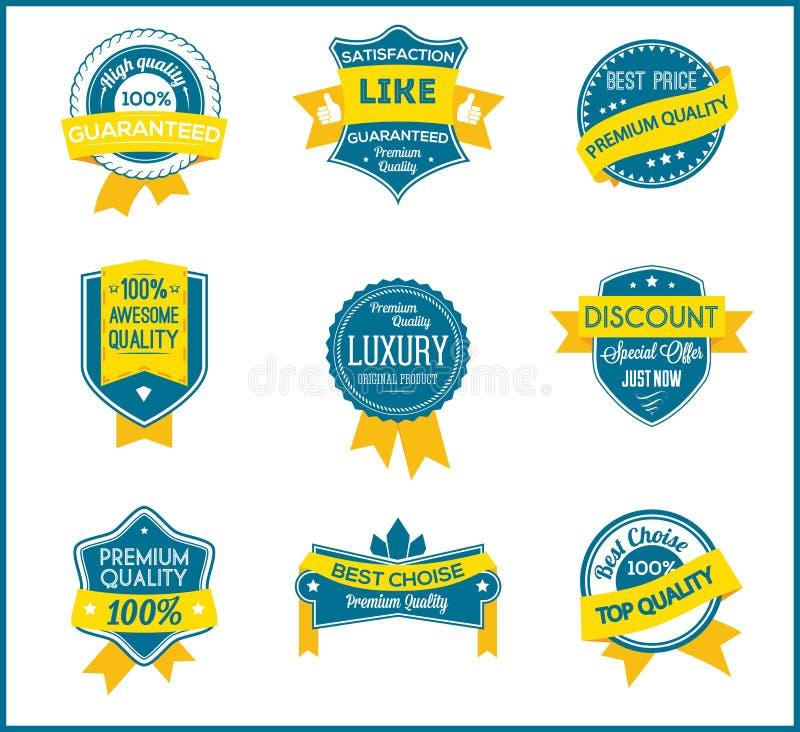 Blauwe en gele marketing etiketten (reeks van 9) stock illustratie
