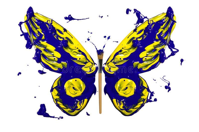 Blauwe en gele plonsverf gemaakt tot vlinder royalty-vrije illustratie