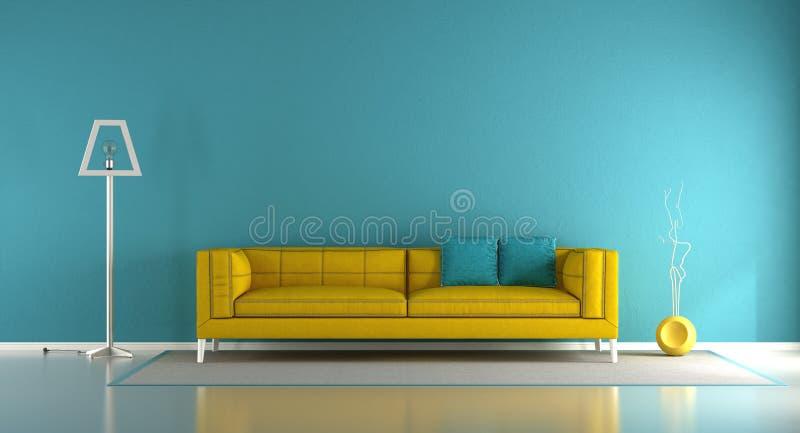 blauwe en gele woonkamer vector illustratie