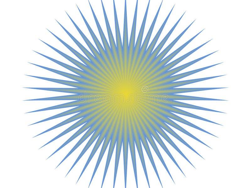 Blauwe en gele zon vector illustratie
